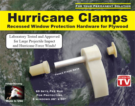 Window clips for hurricanes